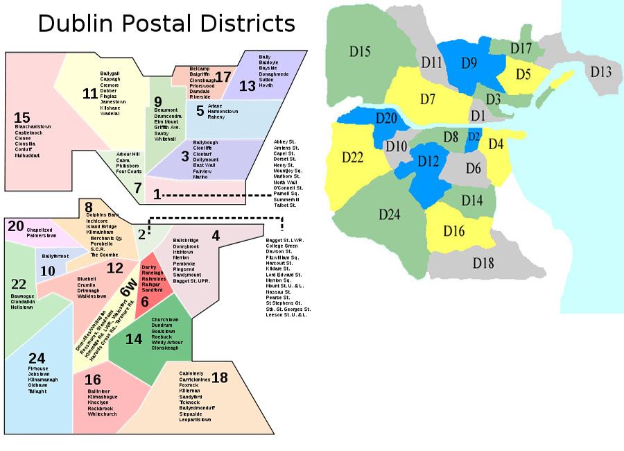 Codigos postales de irlanda numeros de telefono y mapa for Codigos postales madrid capital